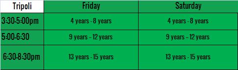 tripoli schedule